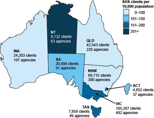 Specialist homelessness agencies and clients, by jurisdiction, 2015–16. This map of Australia shows the number of clients and homelessness agencies in each jurisdiction. In addition, each state and territory is differentially coloured according to a rating scale for the number of clients per 10,000 population. The Northern Territory had the highest rate while New South Wales, Queensland and Western Australia had the lowest client rates in 2015–16.