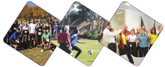 Photo of AIHW's 'Fern Hill Gliders' following the ABS Fun Run in May 2018 (Left). Annual AIHW birthday soccer match, July 2017 (Middle) and The AIHW Choir celebrates the Institute's 30th birthday in July 2017 (Right).