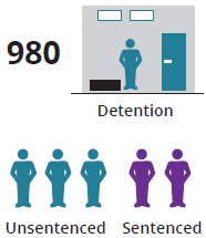 This icon shows 980 young people were in detention on an average night, and 3 in 5 (60%25) of these were unsentenced.